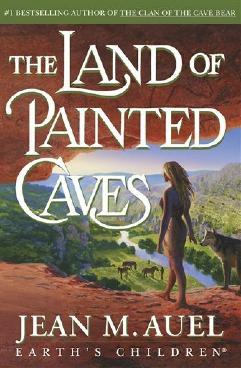 """In this book cover image released by Crown Publishing, """"The Land of Painted Caves,"""" the sixth book in the """"Earth's Children"""" series, is shown. (AP Photo/Crown)"""