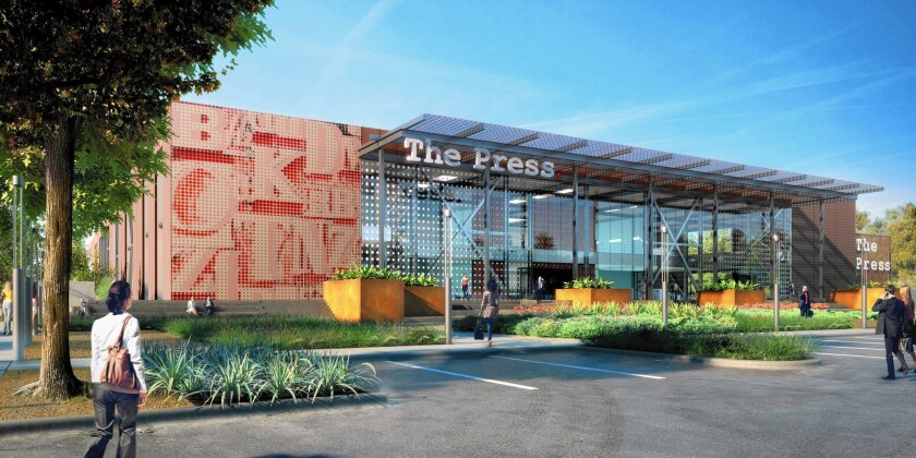 A rendering of the front of the Press, a planned $100-million creative office makeover of the former Los Angeles Times printing plant in Costa Mesa.