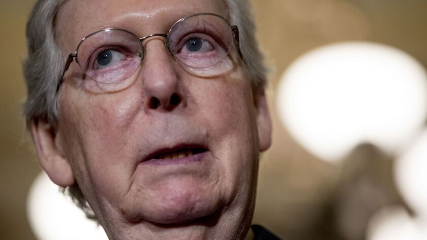 Senate Majority Leader Mitch McConnell delivers remarks in Washington on Tuesday.