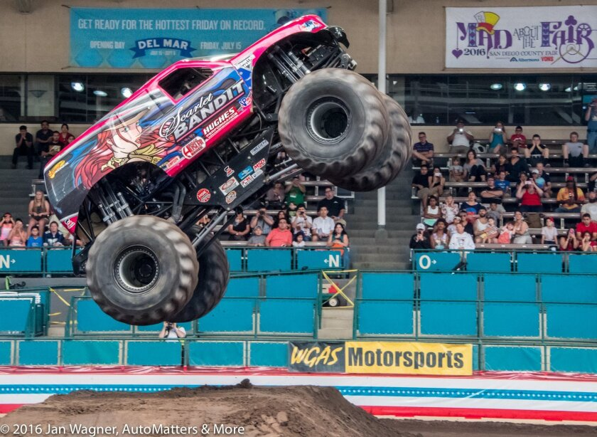 High flying monster truck in the Del Mar Arena