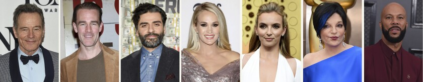 This combination photo of celebrities with birthdays from March 7-13 shows Bryan Cranston, from left, James Van Der Beek, Oscar Isaac, Carrie Underwood, Jodie Comer, Liza Minnelli and Common. (AP Photo)