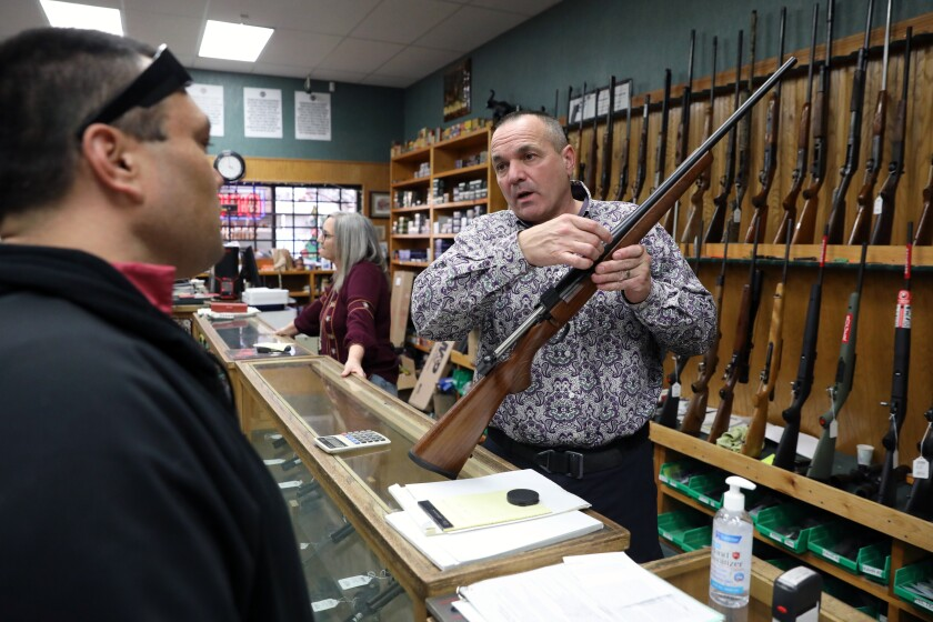 Shasta County Supervisor Patrick Jones, 52, at his business Jones' Fort gun shop in Redding.