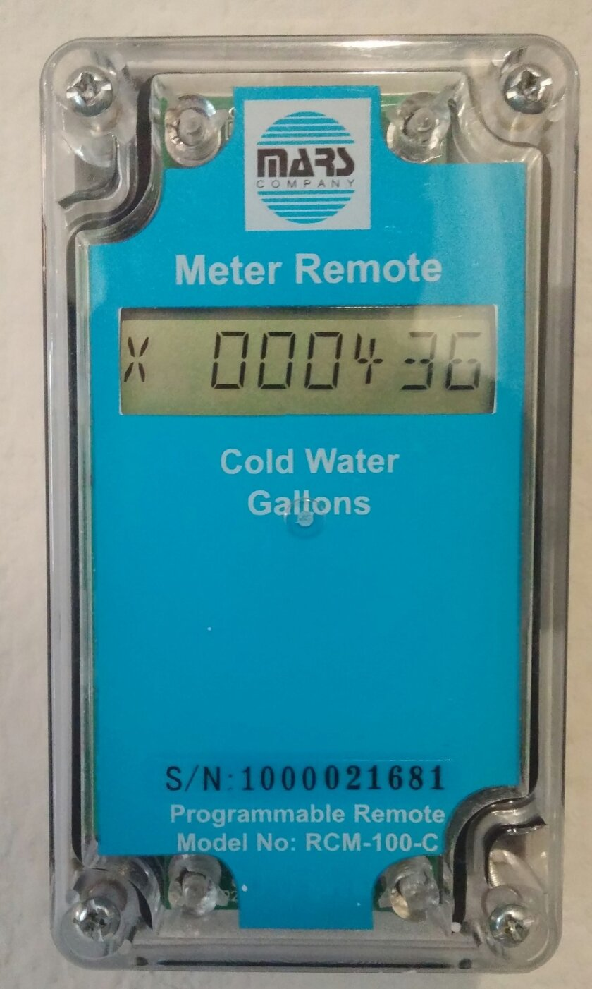 Water meter readout inside homes tells Civita residents at a glance how much water they've used.