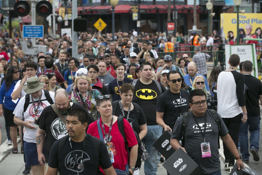 Crowds of fans pour across Harbor Drive on Day 2 of Comic-Con 2018 in San Diego. Access was easier because Harbor Drive was closed to vehicles.