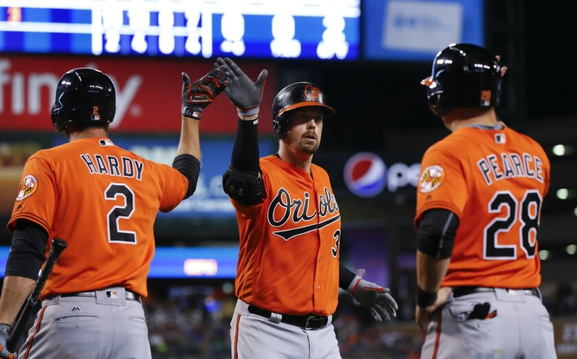 Baltimore Orioles' Matt Wieters celebrates his three-run home run with J.J. Hardy (2) and Steve Pearce (28) against the Detroit Tigers in the sixth inning of a baseball game in Detroit, Saturday, Sept. 10, 2016. (AP Photo/Paul Sancya)