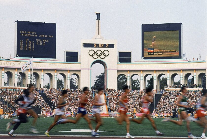 Competitors run in the men's 5,000-meter race at the Olympic Games in Los Angeles in 1984.