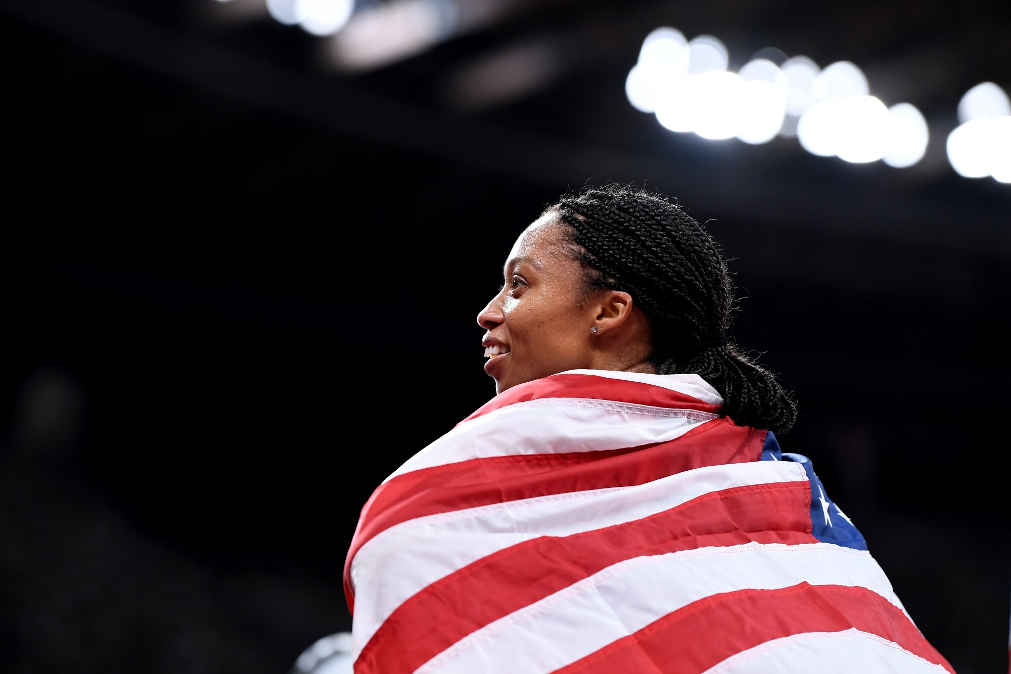 -TOKYO,JAPAN August 7, 2021: USA's Allyson Felix smiles after winning.