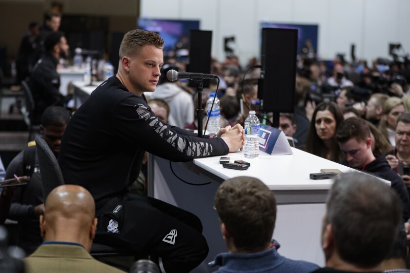 LSU quarterback Joe Burrow speaks to reporters at the NFL scouting combine Feb. 25 in Indianapolis.