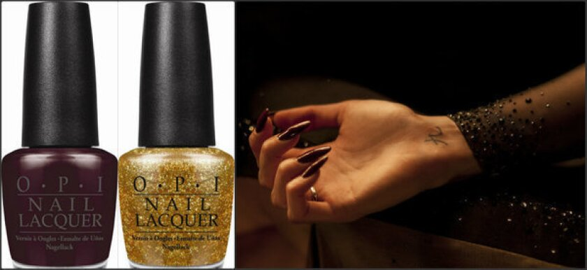 """To create Berenice Marlohe's unique manicure in the newest Bond film, makeup artists used two of OPI's new 007-themed colors, a shade called Skyfall (left) on top of the nail and a glittery gold called GoldenEye (center) on the underside. At right is Marlohe's manicure as it appears in """"Skyfall."""""""