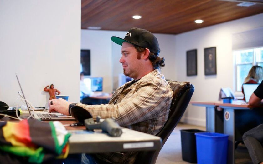 Bow Ruggeri, founder and CTO of the startup Dreamtsoft, works in the companies Solana Beach office.