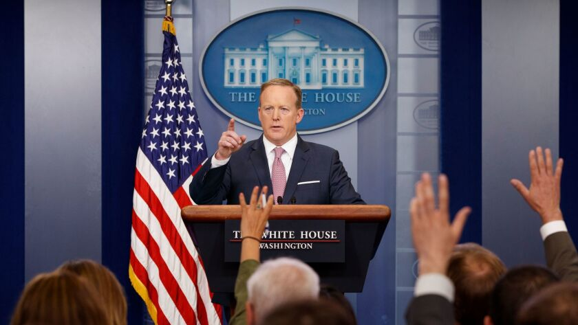 White House Press Secretary Sean Spicer speaks at Friday's news briefing at the White House.