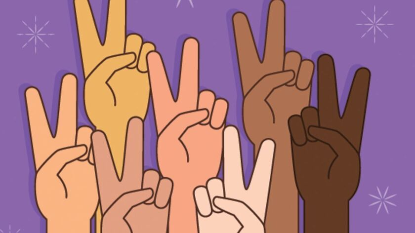 A vector illustration of People With Peace or Victory Sign
