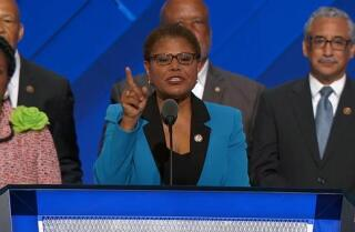 Rep. Karen Bass of California speaks at the Democratic National Convention