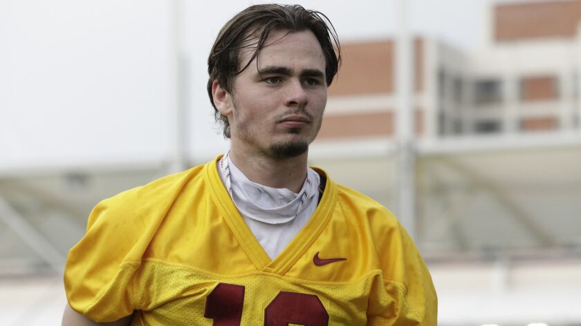 USC quarterback JT Daniels takes part in spring practice on March 5, 2018.
