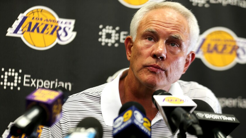 Lakers General Manager Mitch Kupchak listens to a question during a news conference in September.
