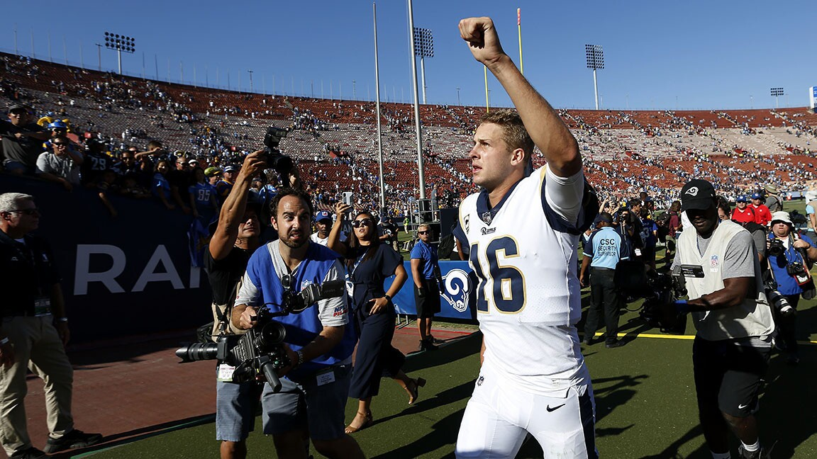 Los Angeles Rams quarterback celebrates after a 35-23 win against the Los Angeles Chargers at the Los Angeles Memorial Coliseum on September 23, 2018. (Photo by K.C. Alfred/San Diego Union-Tribune)