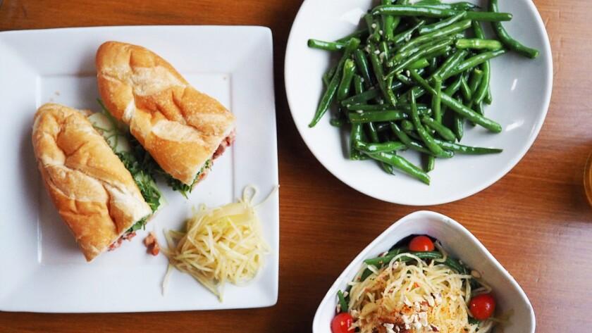 The barbecue pork banh mi, the green beans and the papaya salad at Pingtung.