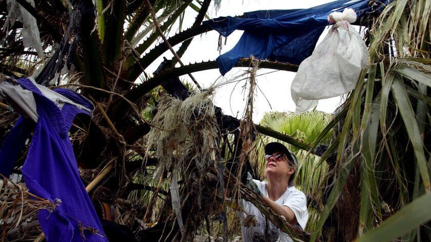 A volunteer cleans trash in the L.A. river basin at Fletcher Drive in Silver Lake.