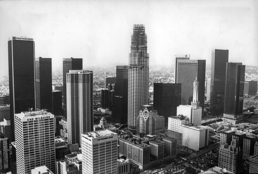 April 14, 1989: The Library Tower, under construction, center, surpasses the First Interstate Buildi
