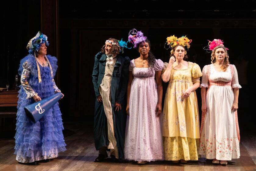 "Shana Wride, Kevin Hafso-Koppman, Joy Yvonne Jones, Michelle Marie Trester and Jacque Wilke (from left) in Cygnet Theatre's ""Pride and Prejudice."""