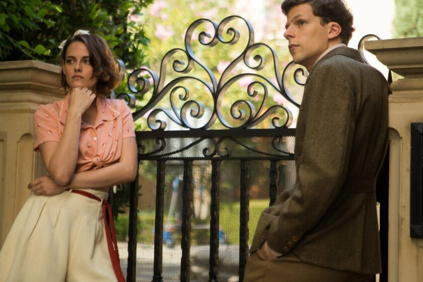 """Jesse Eisenberg and Kristen Stewart in Woody Allen's """"Cafe Society,"""" set in 1930s Hollywood and New York."""