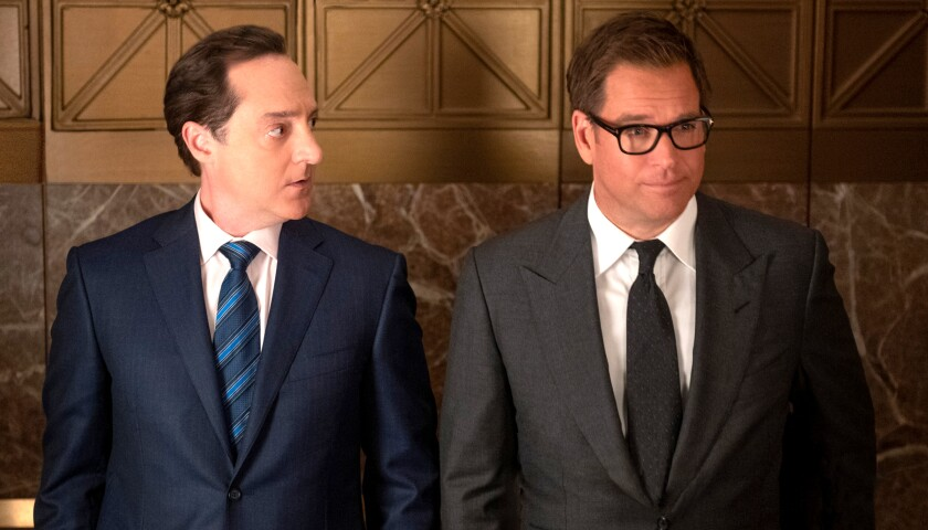 "Brennan Brown, left, and Michael Weatherly in ""Bull"" on CBS."