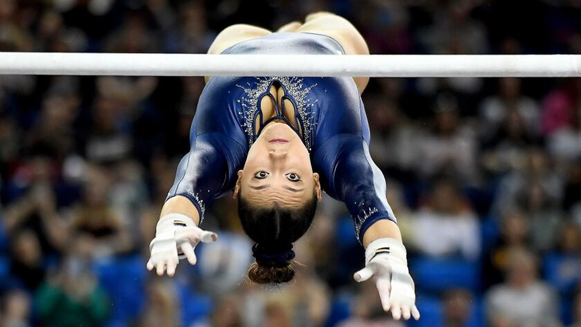 LOS ANGELES, CALIFORNIA MARCH 10, 2019-Kyla Ross competes on the uneven bars against Stanford at Pau