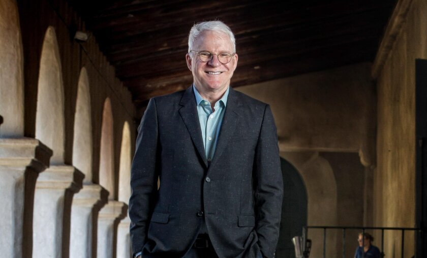 "Steve Martin takes a break from rehearsals in Balboa Park near the Old Globe Theatre, where his new play ""Meteor Shower"" will have its world premiere."