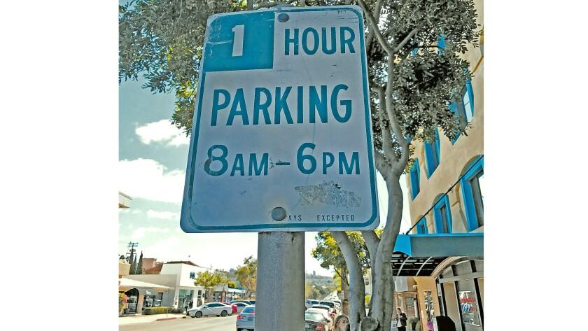 One hour parking on Fay Avenue near a former yoga studio in La Jolla