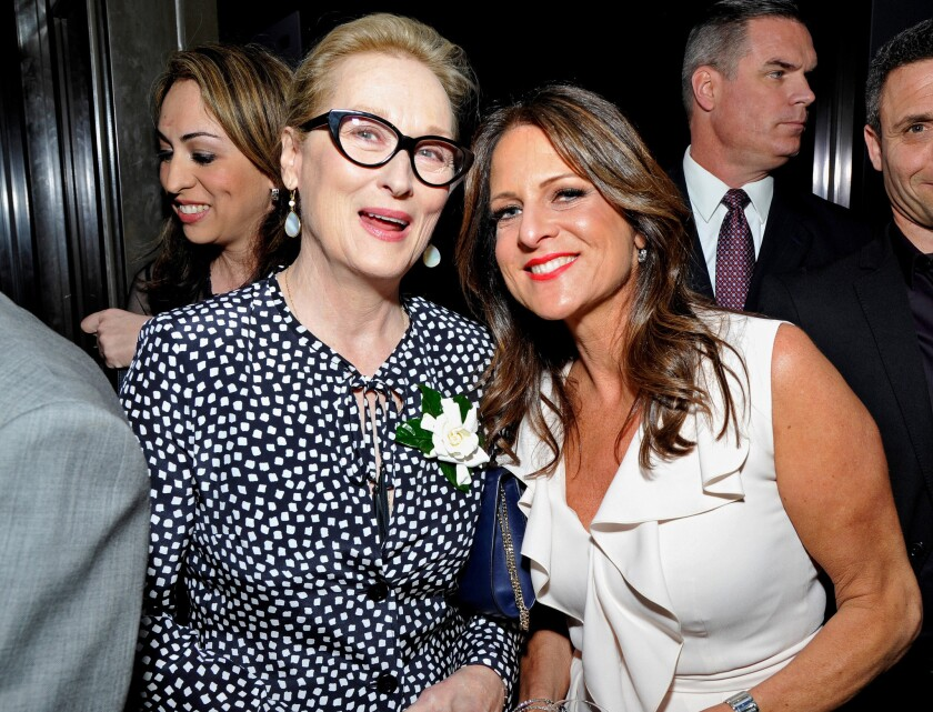 The gathering of entertainment leaders was organized by Women in Film and the Sundance Institute. Above, Cathy Schulman, president of Women in Film, with Meryl Streep at a pre-Oscar party in February.
