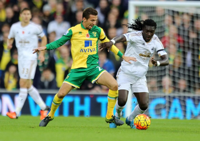 Norwich City's Gary O'Neil, left, battles for the ball with Swansea City's Bafetimbi Gomis during the English Premier League soccer match at Carrow Road, Norwich, England, Saturday Nov. 7, 2015. (Chris Radburn/PA via AP) UNITED KINGDOM OUT