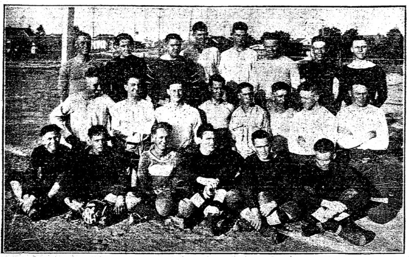 Members of San Diego State's first football team gather for a photo in mid-September of 1921, two weeks before their debut.