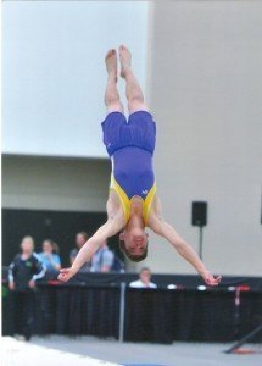 Carmel Valley's Christopher Lucio competes in the USA Gymnastics Trampoline and Tumbling Championships in Louisville, Ky. Courtesy photos