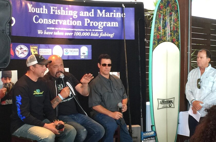 """Captains from the popular TV show """"Wicked Tuna"""" appear during Monday's kickoff event for Tuna Wars II at Bali Hai on Shelter Island. From left: Dave Carraro, Dave Marciano, Paul Hebert and event emcee Pete Gray of the radio show """"Let's Talk Hookup"""" on The Mighty 1090."""