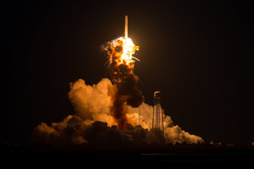 This Tuesday Oct 28, 2014 photo provided by NASA shows the Orbital Antares rocket, after it suffered a catastrophic anomaly moments after launch at NASA's Wallops Flight Facility in Virginia.  The Cygnus spacecraft was filled with supplies slated for the International Space Station, including scien