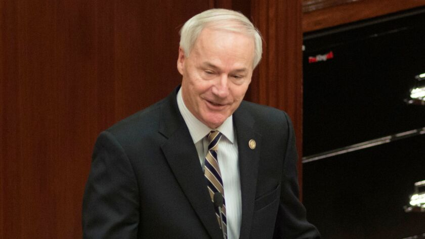 Gov. Asa Hutchinson addresses the Arkansas Legislature in Little Rock on Jan. 10, 2017.