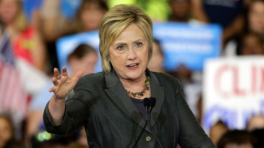 Democratic presidential candidate Hillary Clinton in Raleigh, N.C., last month.