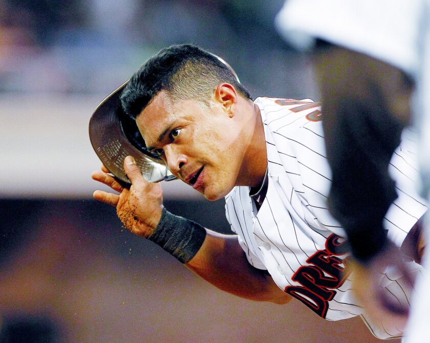 Everth Cabrera can't believe the call after getting picked off at first in the bottom of the 3rd during the Padres game against the New York Mets Friday night at Petco Park.