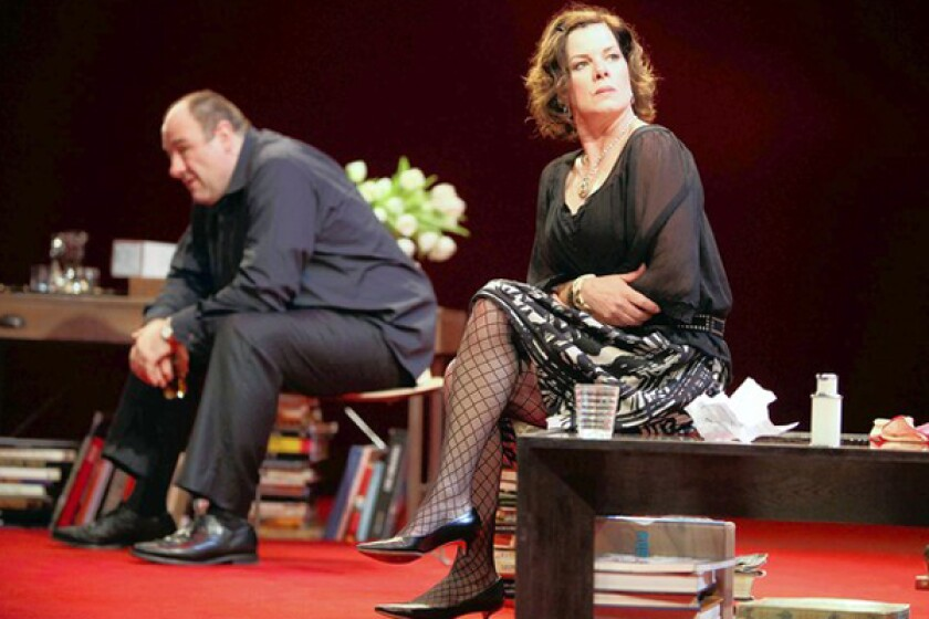 """James Gandolfini and Marcia Gay Harden in """"God of Carnage"""" at the Ahmanson earlier this year."""
