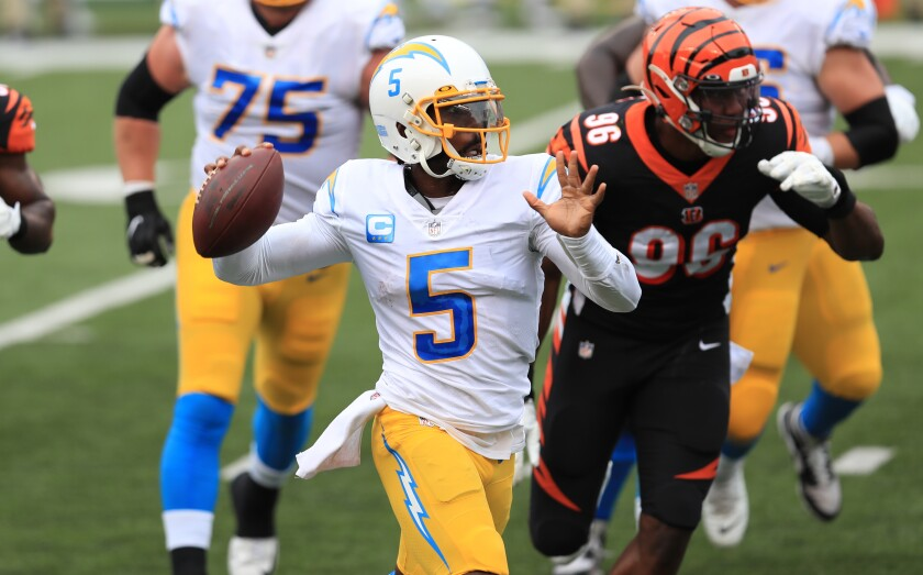 Quarterback Tyrod Taylor throws during the Chargers' season-opening win.