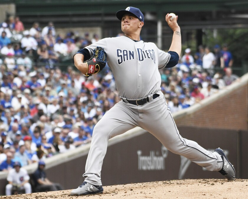 Adrian Morejon allowed one run on three hits in 2 1/3 innings in his major league debut for the Padres on Sunday against the Cubs at Wrigley Field.