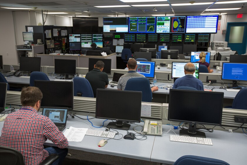 The control room at the DIII-D National Fusion Facility at General Atomics in San Diego. DIII-D is the largest magnetic fusion research facility in the U.S., working in collaboration with more than 600 scientists worldwide to develop practical applications for fusion energy.