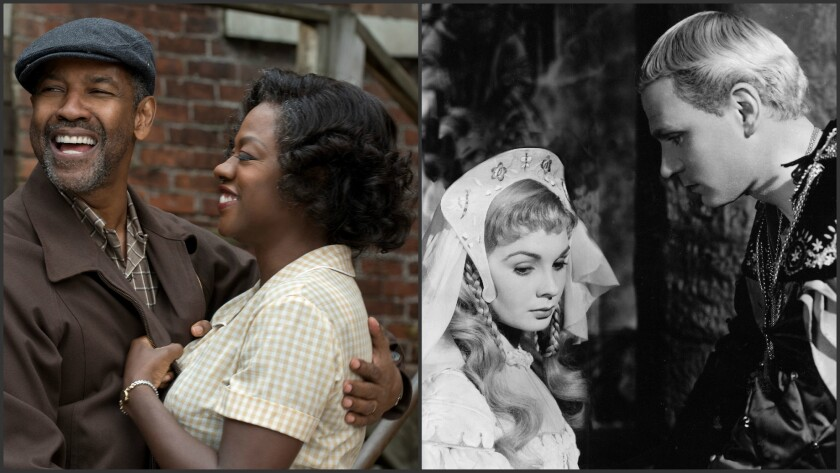 """Denzel Washington and Viola Davis in """"Fences,"""" and Jean Simmons and Laurence Olivier 1948's """"Hamlet."""""""