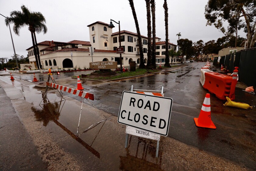 Coast Village Road is closed at Olive Mill Road and Montecito looks like a ghost town under mandatory evacuation orders.