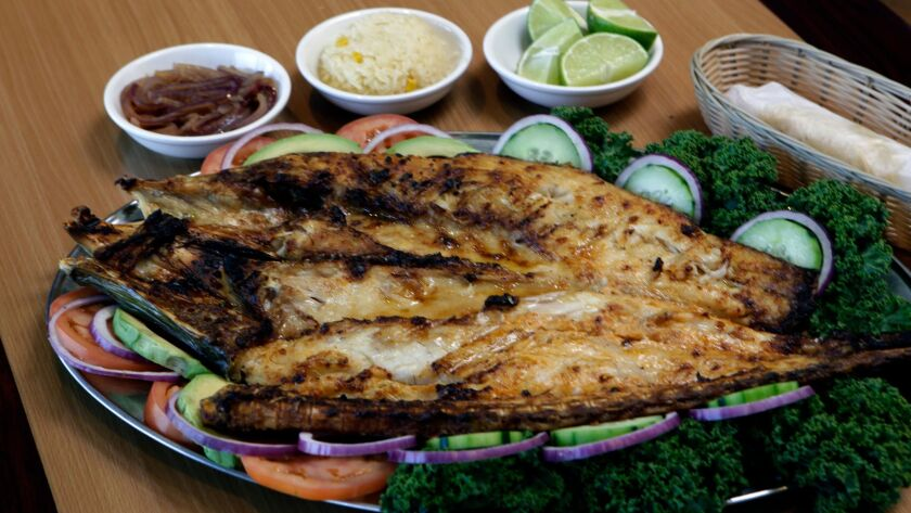 LONG BEACH CA. MARCH 15, 2017: The Snook Fish as served at Cheko El Rey Del Sarandeado restaurant i
