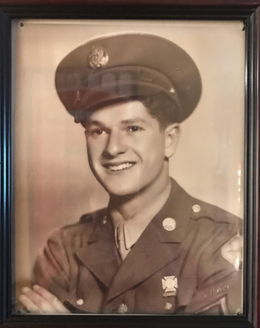 A 1944 photo shows Bob Tauber at age 20 in his Army uniform. The World War II veteran, now 96, lives in La Jolla.
