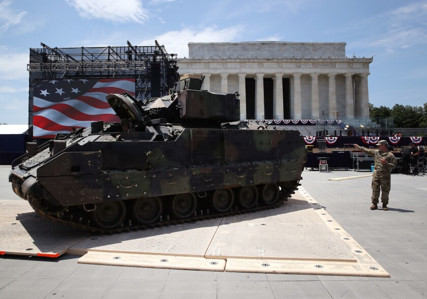 """Members of the U.S. Army park an M1 Abrams tank in front of the Lincoln Memorial ahead of the Fourth of July """"Salute to America"""" celebration on July 3, 2019 in Washington, DC."""