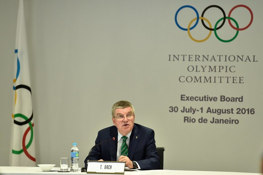 International Olympic Committee President Thomas Bach speaks during the IOC Executive Board Meeting ahead of the 2016 Summer Olympics on July 30, 2016 in Rio de Janeiro, Brazil. (Pascal Le Segretain/Pool Photo via AP)