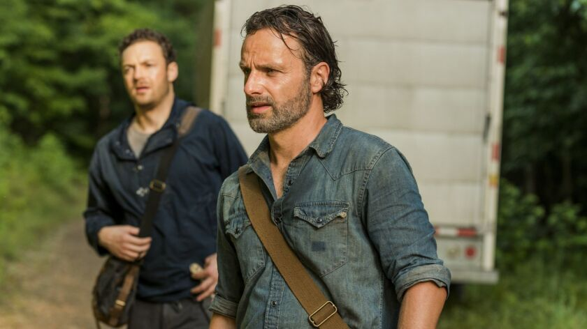 Andrew Lincoln as Rick Grimes, Ross Marquand as Aaron- The Walking Dead _ Season 7, Episode 7 - Pho