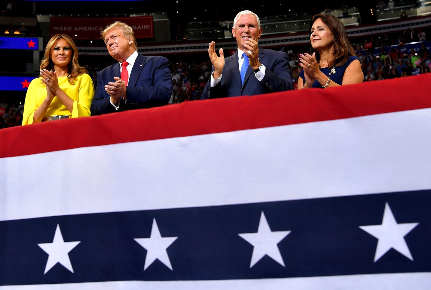First Lady Melania Trump, from left, President Trump, Vice President Mike Pence and Karen Pence at the launch of the Trump 2020 campaign at the Amway Center in Orlando, Fla., on Tuesday.